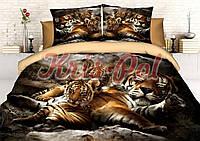 """Комплект постельного белья двуспальный, п/э 3D """"Семья тигров"""""""