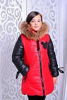 Детская зимняя куртка на девочку с натуральным мехом енота