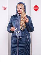 Зимнее женское полу пальто полу прилегающего силуэта плащевка с шарфом супер батал