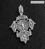 Серебряный крест Распятие Христово с предстоящими. Ангел Хранитель. Казанская икона