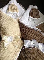 Детский теплый махровый конверт одеяло нв выписку для новорожденного в