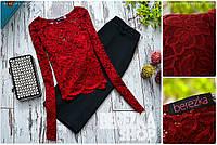 Женский шикарный костюм: кружевной топ и юбка (расцветки)