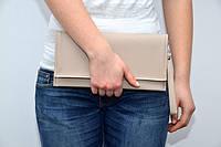 Модный клатч ручная сумочка клатчик эко-кожа с ремешком капуччиновый