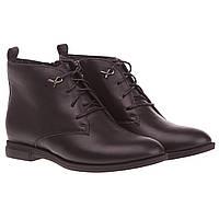 Женские ботинки Deenoor (кожаные, черные, стильные, комфортные, модные, качественные)