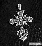 Серебряный мужской крестик православный с распятием