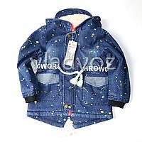 Детская джинсовая парка для девочки тёплая подкладка 8-9 лет