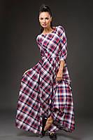 """Длинное трикотажное платье в клетку """"Mirabella"""" с расклешенной юбкой (8 цветов)"""