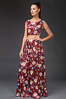 """Длинное атласное платье без рукавов """"Medila"""" с контрастным атласным поясом (5 цветов)"""
