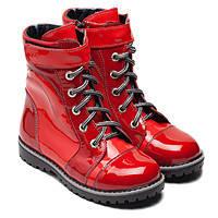 Ботинки лакированные красные для девочки, демисезонные, размер 28- 36