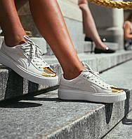 Кроссовки Puma Rihanna Suede Platform Gold Toe.