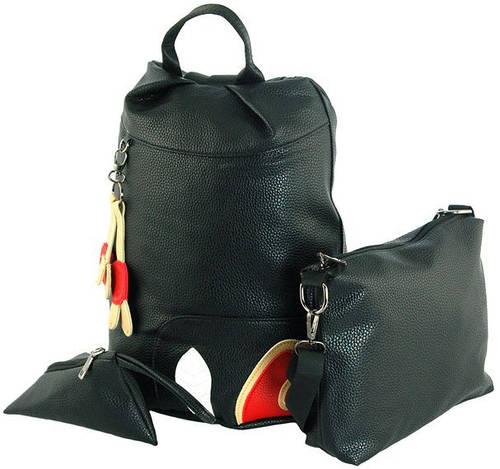 Интересный комплект: рюкзак 15л +клатч+ косметичка  из искусственной кожи Traum 7229-29, черный