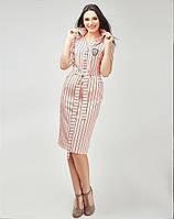 Молодежное платье рубашечным воротничком в полоску