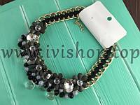 Массивное колье-ожерелье под золото с камнями, черное