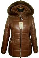 Симпатичная женская зимняя куртка шоколадного цвета