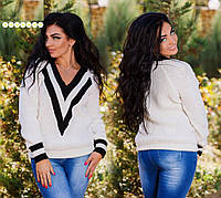 Женский теплый вязаный свитер. Большие размеры. Разные цвета.