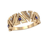 Интересное золотое колечко 585* пробы в треугольничках