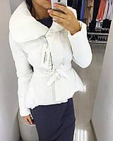 Куртка зимняя, теплая, цвет белый, под пояс