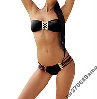 Сексуальный купальник с кожаными вставками М size