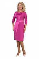 Нарядное женское платье с атласной вставкой розового цвета