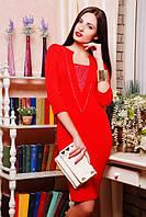 Женское красное  платье Алекс   42-50 размеры