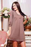 Короткое  трикотажное платье Соня бежевое 42-50 размеры