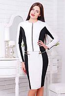 Женское трикотажное платье Кира  черный+белый 42-50 размеры