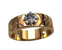 Женское золотое кольцо 585* пробы с резьбой и камнем по центру