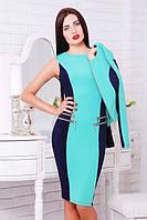 Женское трикотажное платье Кира   темно-синий+мята 42-50 размеры