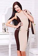 Женское трикотажное платье Кира  беж+шоколад  42-50 размеры