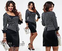 Чёрное элегантное платье в виде костюма. р. 48, 50, 52, 54