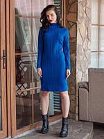 Модное вязанное платье на каждый день прямого кроя в ярком цвете