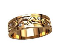Прелестное золотое колечко 585* пробы в узорах и с мелкими Фианитами