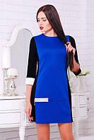 Трикотажное платье Соло  черный+электрик+белый 42-50 размеры