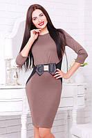 Женское трикотажное бежевое платье Сиера  42-50 размеры