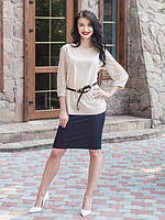 Офисная блуза Марго выполнена из качественного креп-шифона с гипюровым рукавом