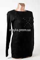 Кофта туника бусины женская черный р 46-48 N1902