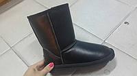 Натуральные черные кожаные угги UGG.
