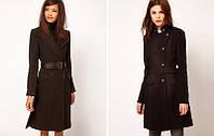 Приталенное пальто с поясом и воротником-стойка