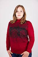 Очень красивая батальная женская кофта красного цвета