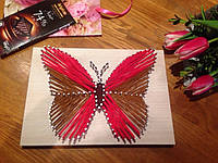 Бабочка Картины с ниток и гвоздей Ручная работа