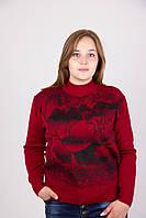Яркая батальная женская кофта красного цвета