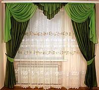 Шторы с тюлем для гостиной Кармен зеленый