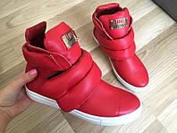 Женские красные ботинки на липучке Fhilipp plein