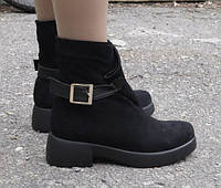 Ботинки весенне-осенние с пряжкой, черные