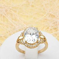 R1-0768 - Эффектное позолоченное кольцо с прозрачными фианитами, 16.5 р.