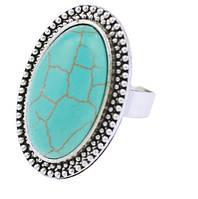 Кольцо Античность/ бижутерия/ размер регулируется/ цвет серебро, бирюзовый