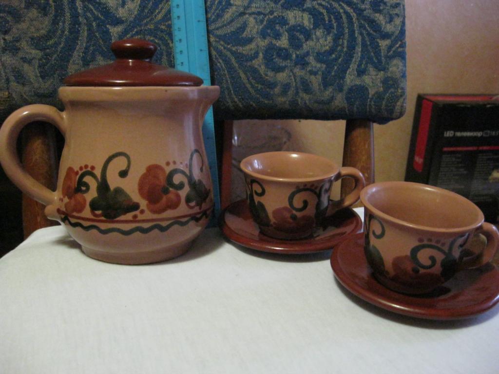 Сервиз кофейный керамический (майолика) СССР 70-е