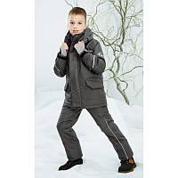Куртка для мальчика зимняя термо серая на мембране удлиненная Be easy с высоким воротником