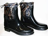 """Резиновые сапоги женские Valex 46112 """"Цепи"""" черные, утеплитель, ПХВ/плащевая ткань."""