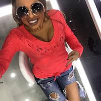 Женский свитер яркого кораллового цвета, фото 1